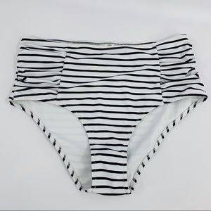 Cupshe Black & White Striped Bikini Bottoms